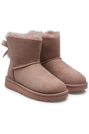 UGG - Bottines en cuir velours Mini Bailey Bow - rose