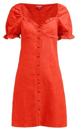 Ruffle Trimmed Bodice Linen Blend Mini Dress - Womens - Red