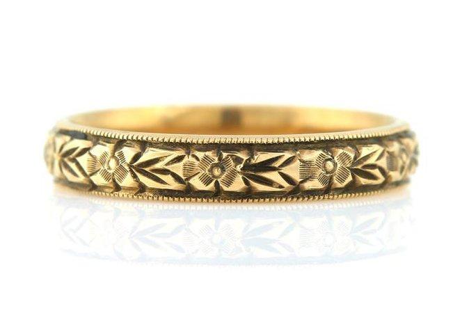 Beautiful Art Deco 9ct Rose Gold Orange Blossom Wedding Ring c.1930 – Lillicoco