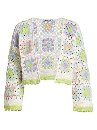 Alice + Olivia Anderson Boxy Cropped Crochet Cardigan   SaksFifthAvenue