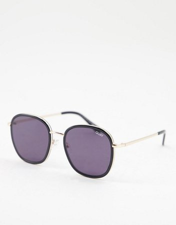Quay Jezabell Inlay womens round sunglasses in black | ASOS