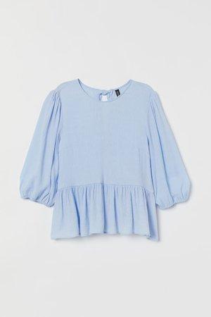 Puff-sleeved Blouse - Light blue - Ladies   H&M US