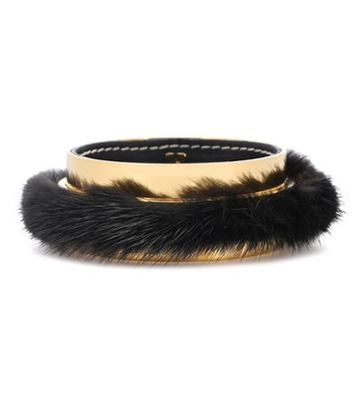 Fur-trimmed bangle