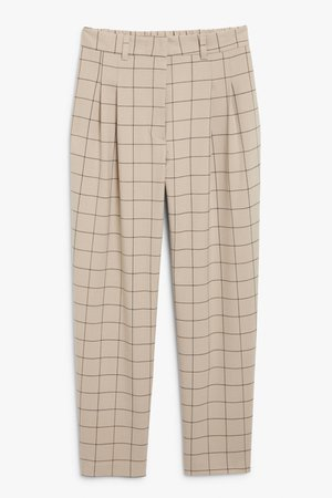 Straight leg trousers - Beige check - Trousers - Monki WW
