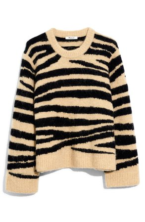 Madewell Tiger Stripe Shrunken Pullover Sweater | Nordstrom