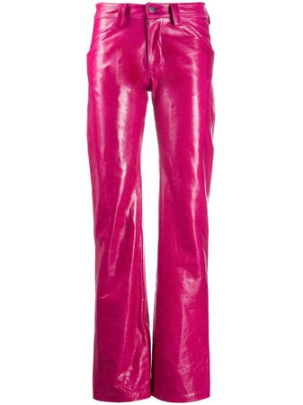 Pink Mowalola straight leg leather trousers SUITTROUSERS - Farfetch