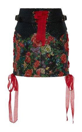 Halima Floral Wax Brocade Mini Skirt by SANDRA MANSOUR