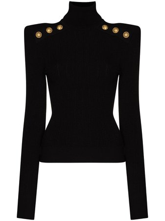 Balmain Ribbed Turtleneck Jumper - Farfetch