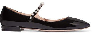 Crystal-embellished Patent-leather Mary Jane Ballet Flats - Black
