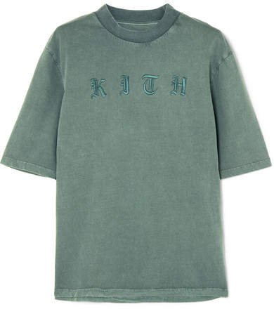 Kith - Mei Embroidered Cotton-jersey T-shirt - Green