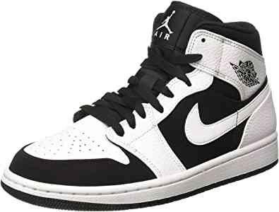 Amazon.com | Jordan Nike Men's Air 1 Mid White/Black/Wht Basketball Shoe 12 Men US | Basketball