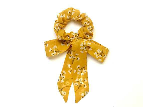Scrunchie Scrunchie Bow Mustard Cute Floral Boho Elastic Hair