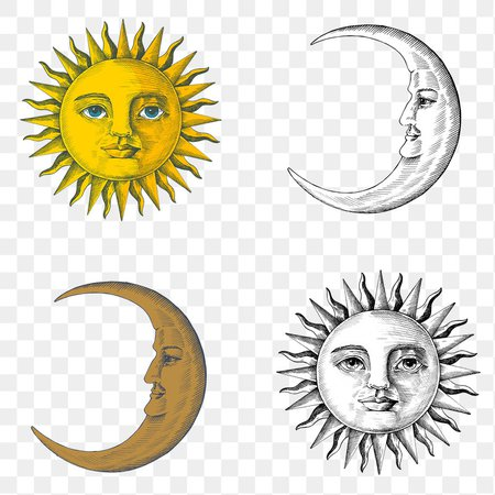 Hand drawn sun and crescent moon with a face…   Free stock illustration   High Resolution graphic