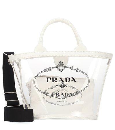 Printed Leather-Trimmed Pvc Tote | Prada - mytheresa.com