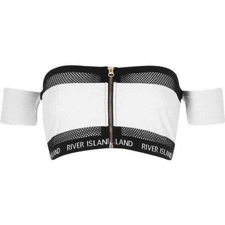 River Island White mesh zip front bardot bikini top ($32)