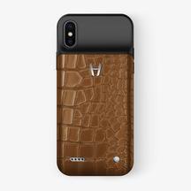 Alligator Battery Case iPhone X/Xs | Peony Blue - Stainless Steel – Hadoro Paris
