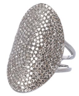 silver Large Oval Diamond Ring