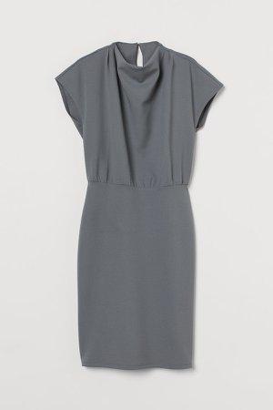 Cap-sleeved Dress - Green