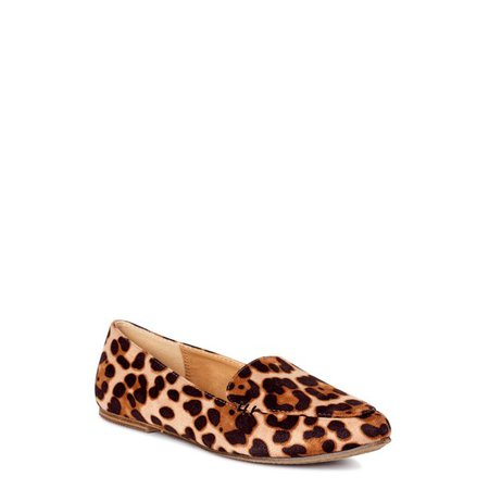 Time and Tru - Time and Tru Women's Animal Print Feather Flats, Available in Wide Width - Walmart.com - Walmart.com brown