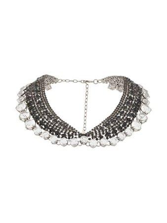 Black Ermanno Scervino crystal collar necklace- Farfetch
