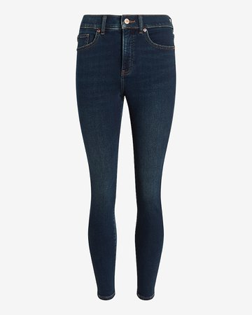 High Waisted Knit Supersoft Dark Wash Skinny Jeans   Express