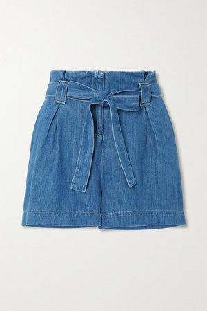 Hillary Belted Cotton And Lyocell-blend Chambray Shorts - Blue