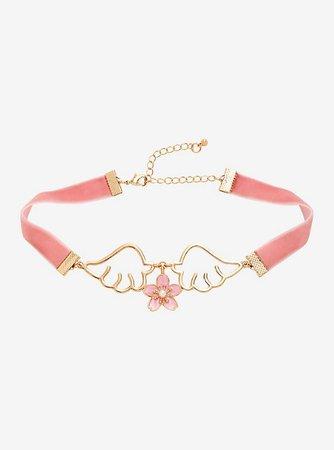 Cherry Blossom & Wings Velvet Choker