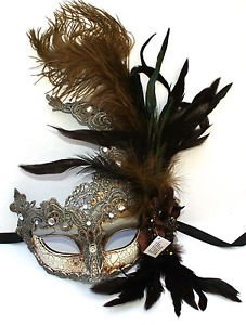 Feather Venetian Masquerade Costume Ball Prom Party Wedding Silver Lace eye Mask | eBay