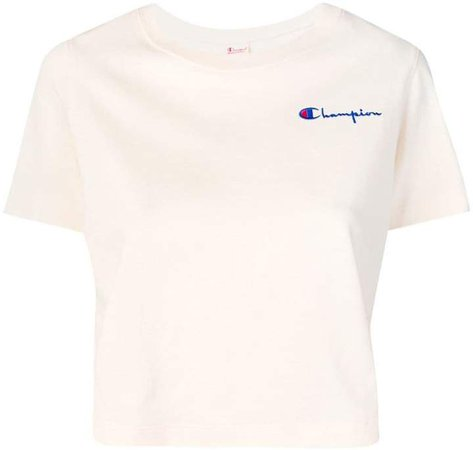 logo embroidered crop T-shirt