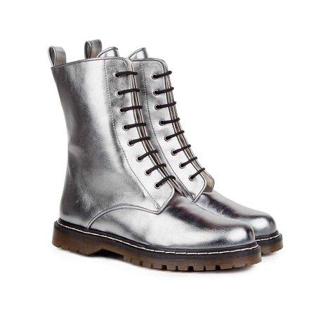 Frida Metal Grey Lace Up Vegan Boots | Beyond Skin US