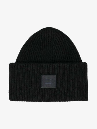 Acne Studios black Pansy Face ribbed wool beanie | Hats | Browns