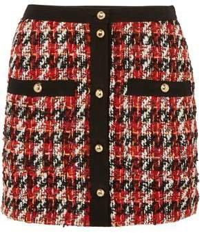 Button-embellished Boucle-tweed Mini Skirt