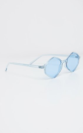 Light Blue Hexagon Sunglasses | PrettyLittleThing