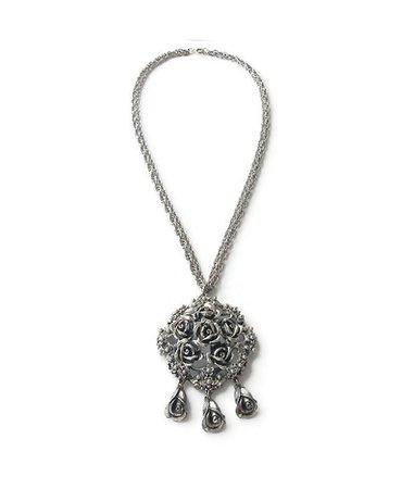Tortolani Silver Rose Repousse Pendant Necklace Rose Bud | Etsy