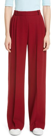 Pleated Wide Leg Wool Trousers
