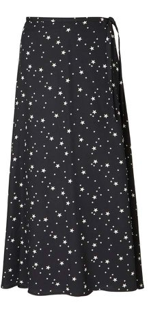 Luna Wrap Skirt In Black With White Stars