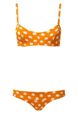 genevieve orange polka dot terry bikini