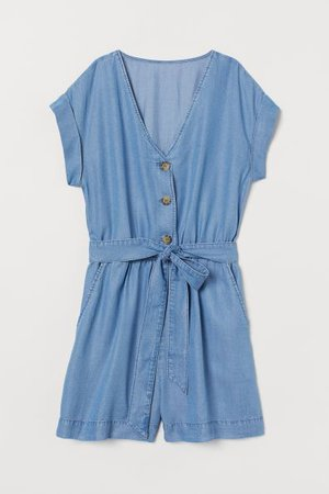 Lyocell Romper - Denim blue - Ladies | H&M US