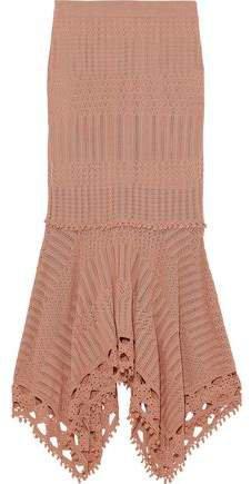 Asymmetric Pointelle-knit Modal And Cotton-blend Midi Skirt