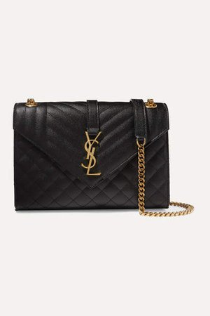 Envelope Medium Quilted Textured-leather Shoulder Bag - Black