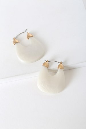 White Resin Earrings - Boho Hoop Earrings - Resin Hoop Earrings - Lulus