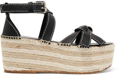 Leather Espadrille Wedge Sandals - Black