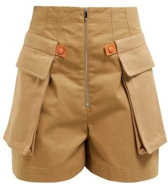 High Waist Cotton Garbadine Cargo Shorts - Womens - Beige