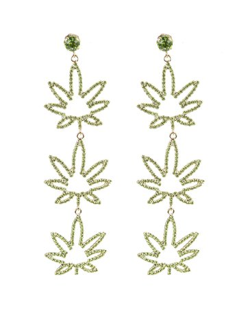 Crystal-embellished Leaf Earrings