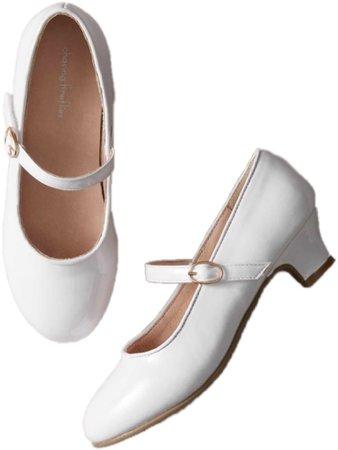 White Mary Jane Kitten Heels