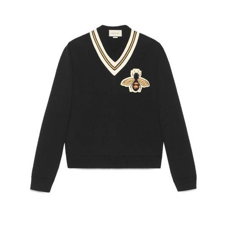 Wool sweater with bee appliqué - Gucci Men's Sweaters & Cardigans 452796X5H381082