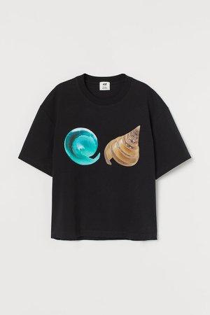 Wide-cut Printed T-shirt - Black
