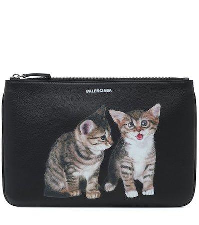 Kitten leather pouch
