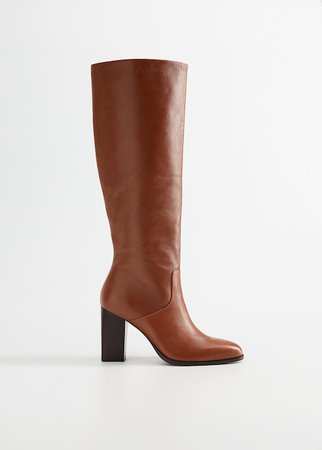 Leather boots with tall leg - Women | Mango USA brown