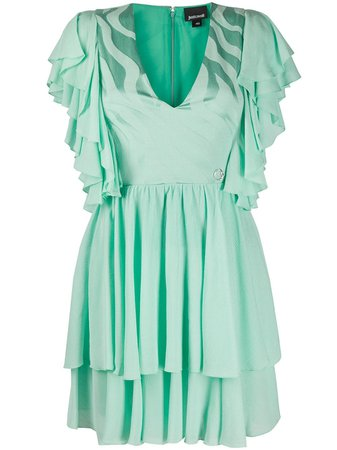 Shop green Just Cavalli ruffle trim layered dress with Express Delivery - Farfetch